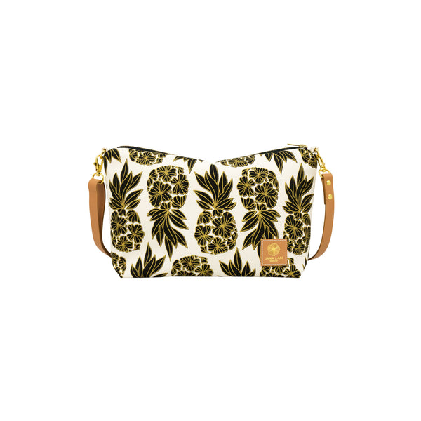 Mini Slouchy Cross Body • Seaflower Pineapple • Gold over Black on Natural Fabric