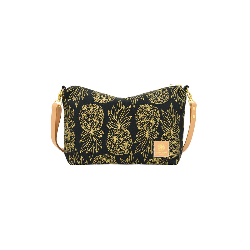 Mini Slouchy Cross Body • Seaflower Pineapple • Gold on Black Fabric