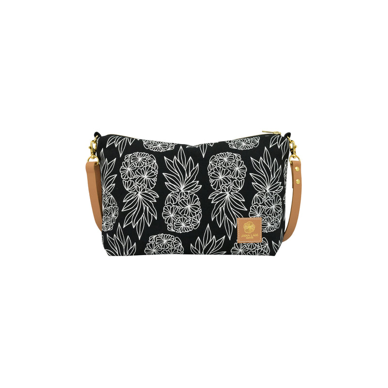 Mini Slouchy Cross Body • Seaflower Pineapple • White on Black Fabric
