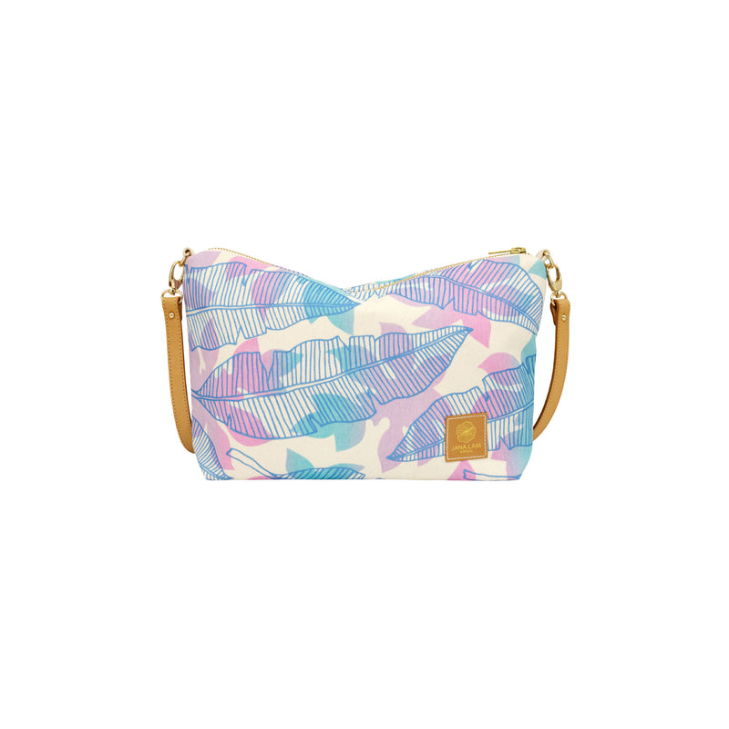 Mini Slouchy Cross Body • Banana Leaf and Papaya Leaf Shadow • Periwinkle over Lavender and Blue Ombre