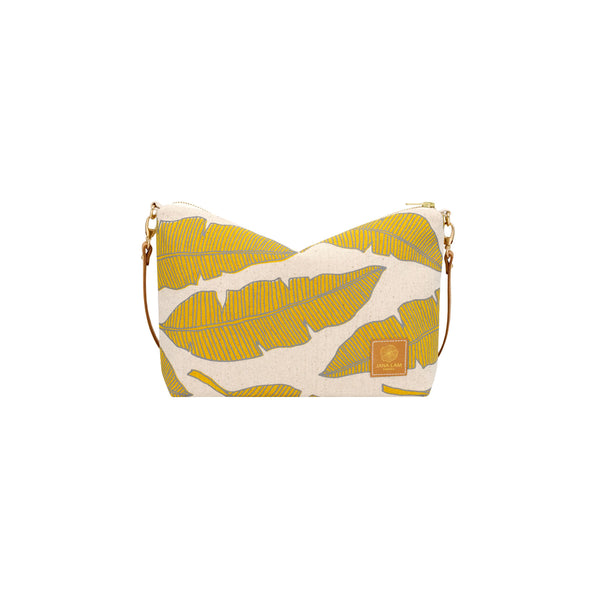 Mini Slouchy Cross Body • Banana Leaf • Taupe over Mustard