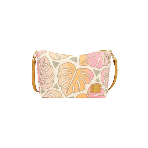 Mini Slouchy Cross Body • Monstera • Metallic Taupe over  Pink and Tangerine Ombre
