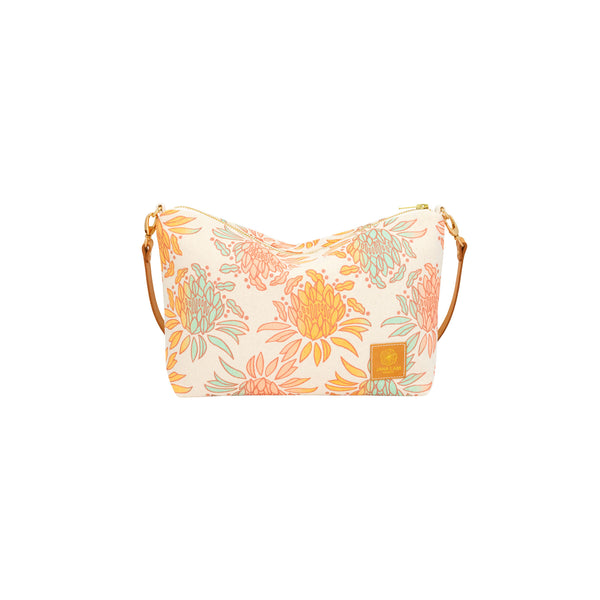 Mini Slouchy Cross Body • Night Blooming Cereus • Copper over Mint Tangerine and Peach