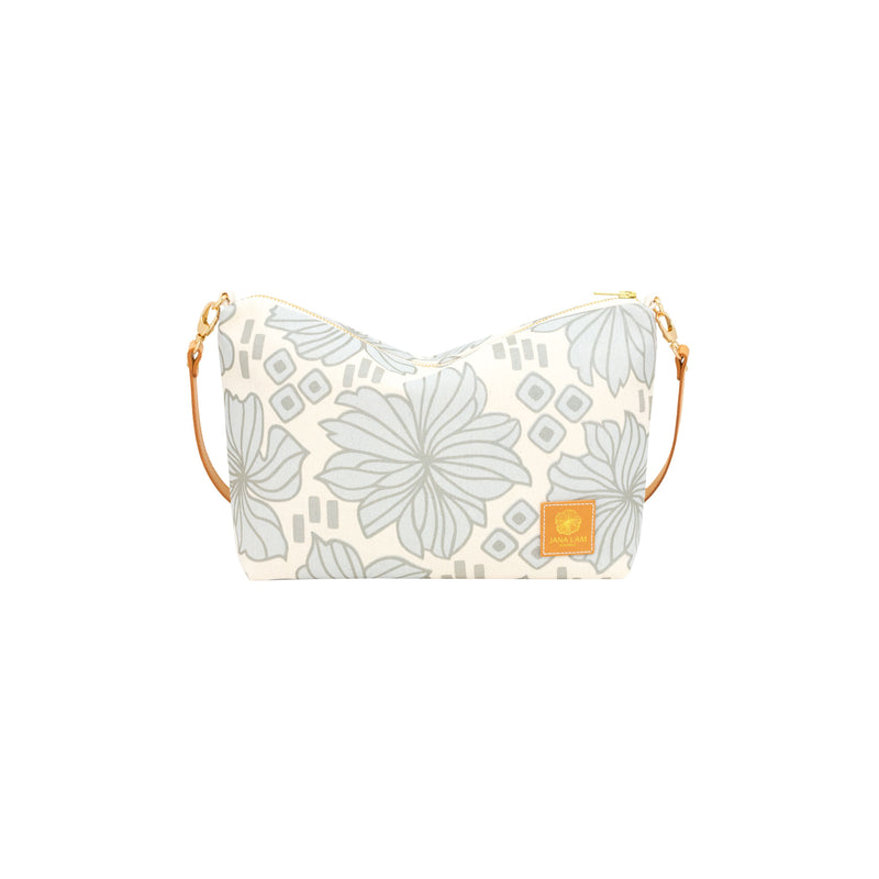 Mini Slouchy Cross Body • Retro Blooms • Silver over Light Blue