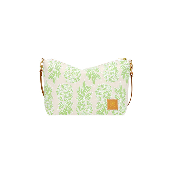 Mini Slouchy Cross Body • Seaflower Pineapple • White over Minty Green