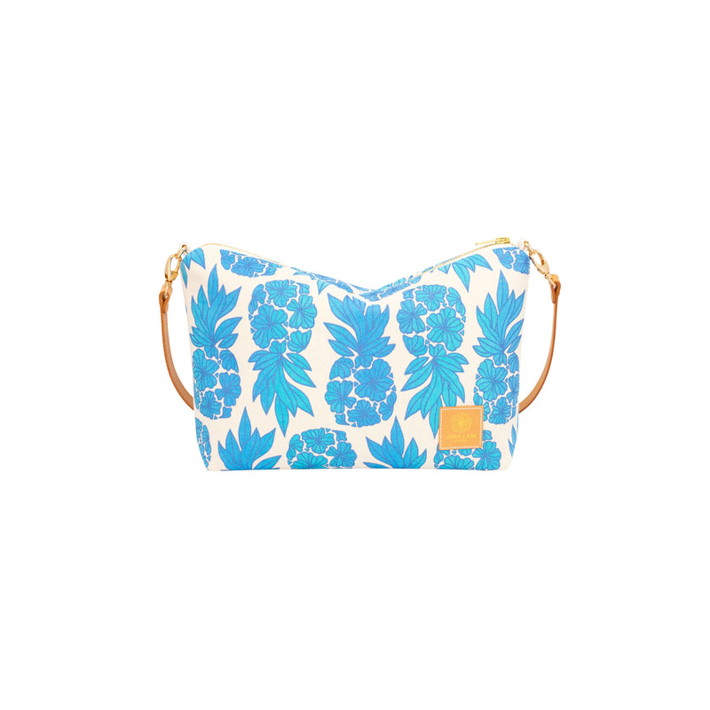 Mini Slouchy Cross Body • Seaflower Pineapple • Navy over Turquoise and Blue