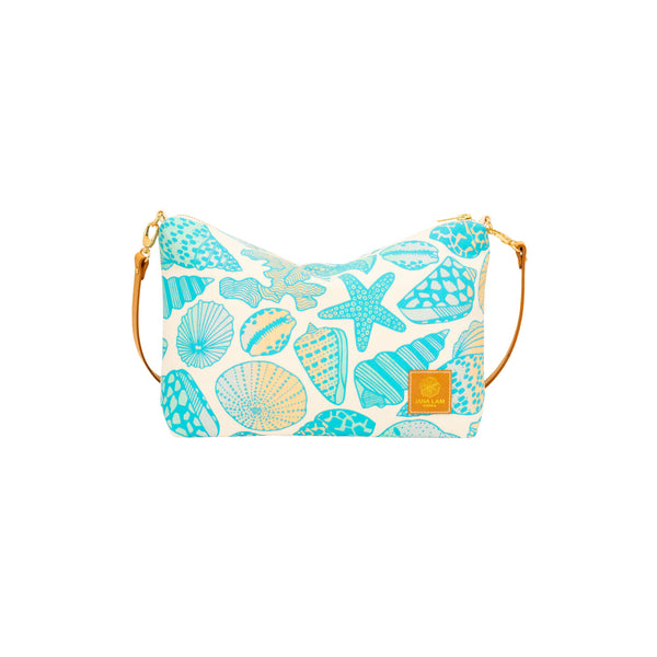 Mini Slouchy Cross Body • Seashells • Teal over Ocean and Sand Ombre