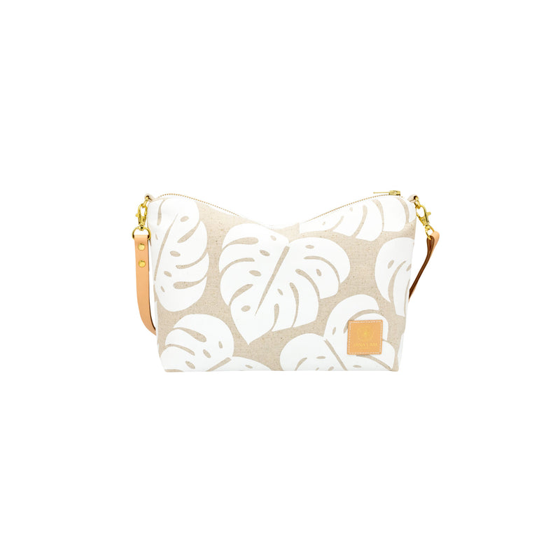 Mini Slouchy Cross Body • Monstera Shadow • White Collection