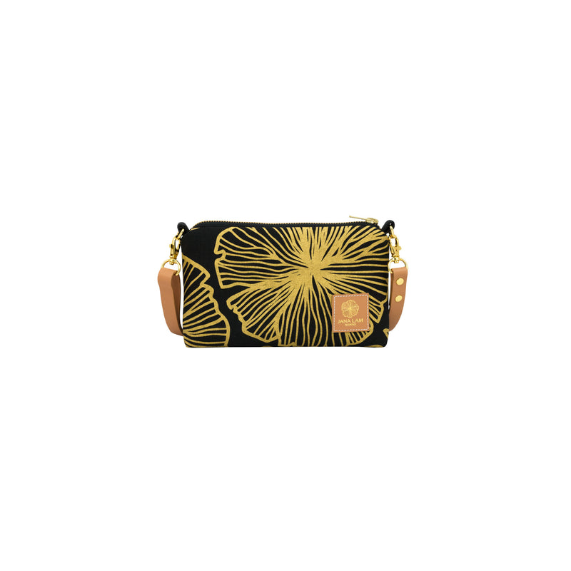 Mini Slim Zipper Cross Body • Seaflower • Gold on Black Fabric