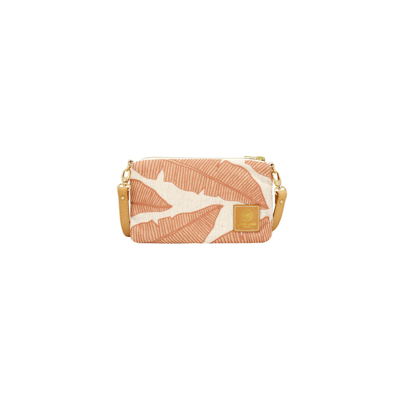 Mini Slim Zipper Cross Body • Banana Leaf • Copper over Tan