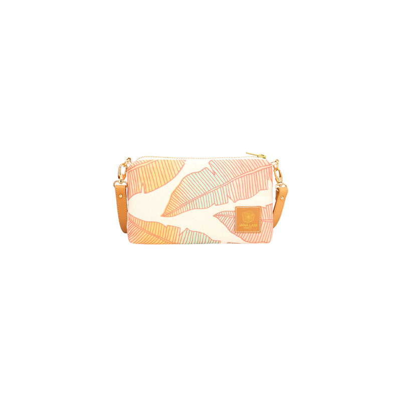 Mini Slim Zipper Cross Body • Banana Leaf • Brown over Mint Coral and Tangerine Ombre