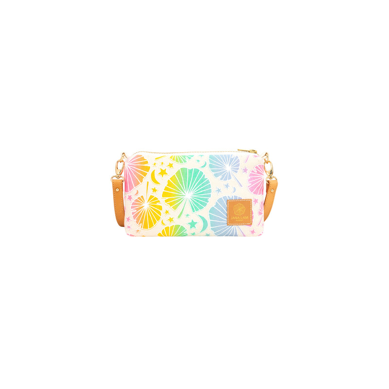 Mini Slim Zipper Cross Body • Fan Palm • White over Rainbow Ombre