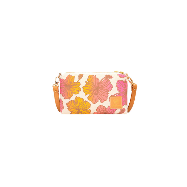 Mini Slim Zipper Cross Body • Hibiscus • Taupe over Pink Orange and Marigold Ombre