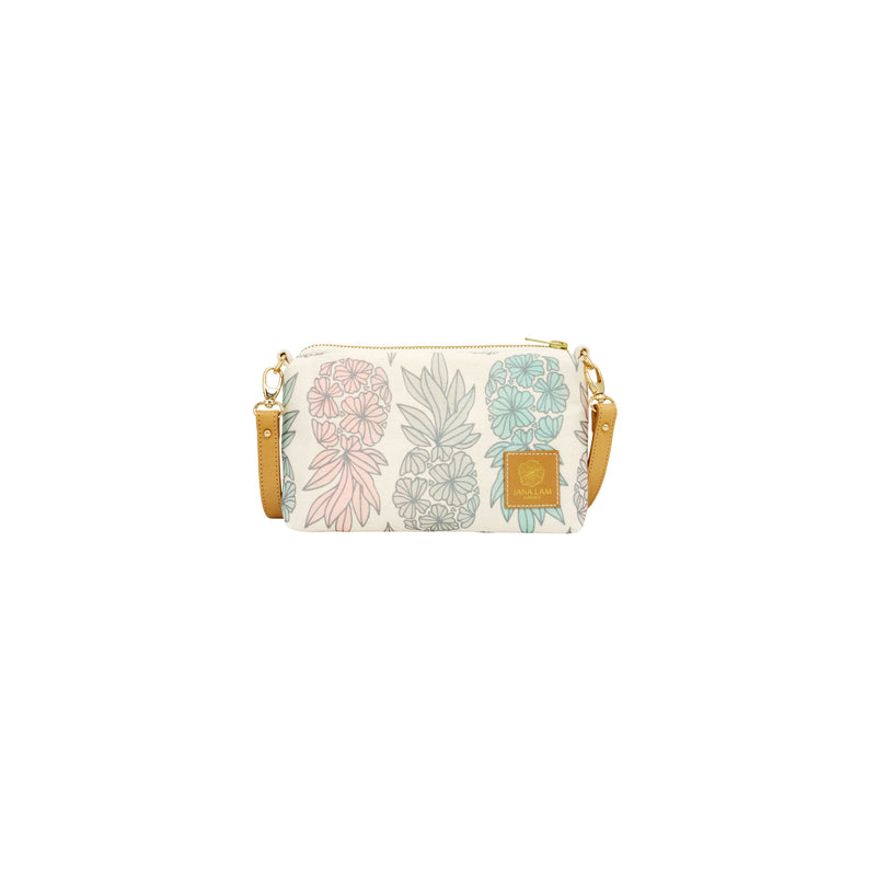 Mini Slim Zipper Cross Body • Seaflower Pineapple • Silver over Light Pink, Light Blue, and Gray Ombre