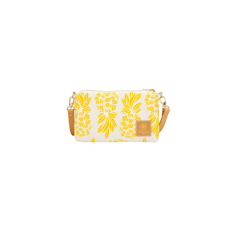 Mini Slim Zipper Cross Body • Seaflower Pineapple • White over Yellow