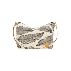 Slouchy Cross Body • Banana Leaf • Black on Natural Fabric