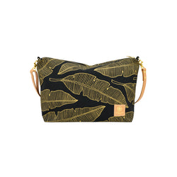 Slouchy Cross Body • Banana Leaf • Gold on Black Fabric