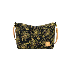 Slouchy Cross Body • Hibiscus • Gold on Black Fabric