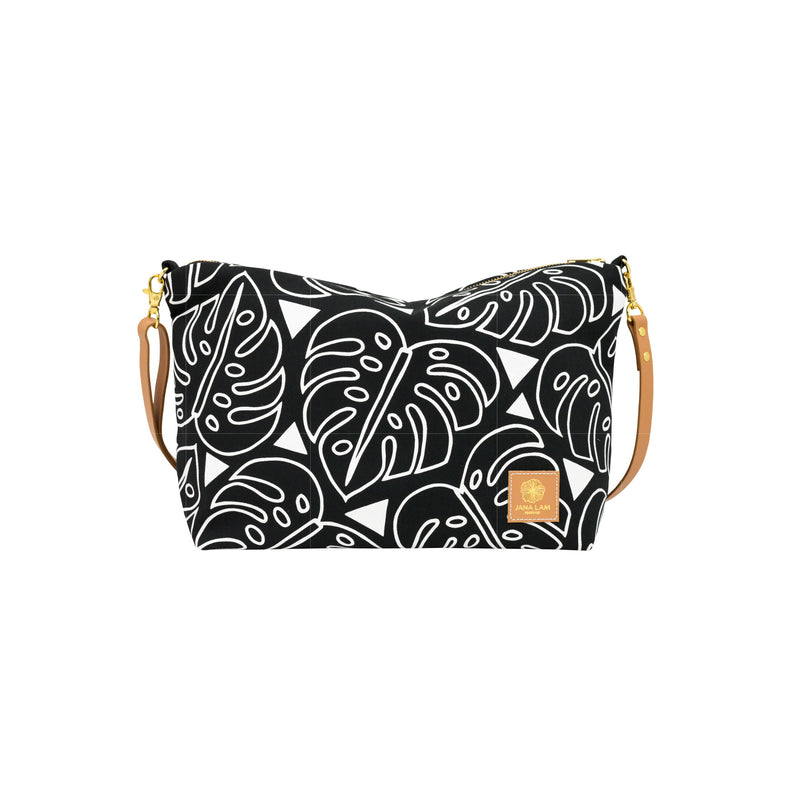 Slouchy Cross Body • Monstera • White on Black Fabric
