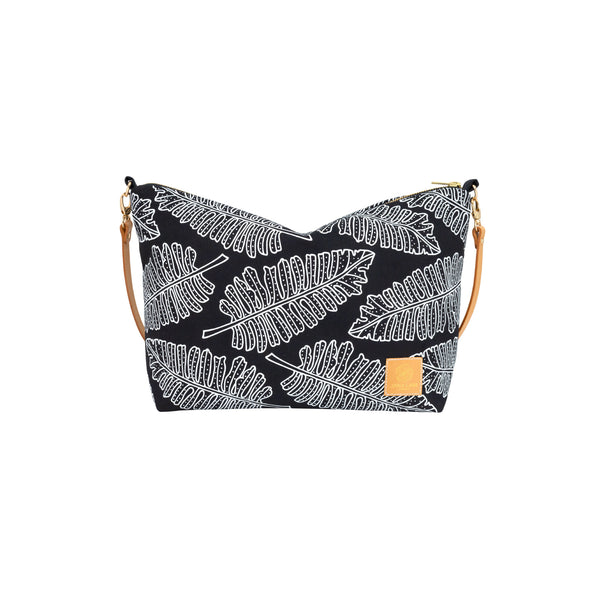 Slouchy Cross Body • Native 'Ae • White on Black Fabric