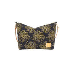 Slouchy Cross Body • Night Blooming Cereus • Gold on Black Fabric