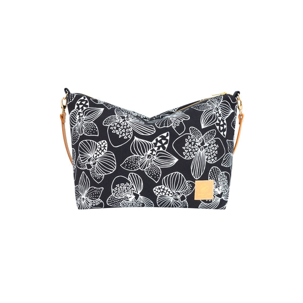 Slouchy Cross Body • Orchid • White on Black Fabric