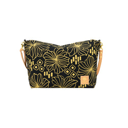 Slouchy Cross Body • Retro Blooms • Gold on Black Fabric