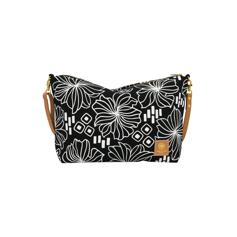 Slouchy Cross Body • Retro Blooms • White on Black Fabric