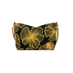 Slouchy Cross Body • Seaflower • Gold on Black Fabric