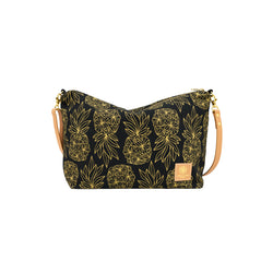 Slouchy Cross Body • Seaflower Pineapple • Gold on Black Fabric