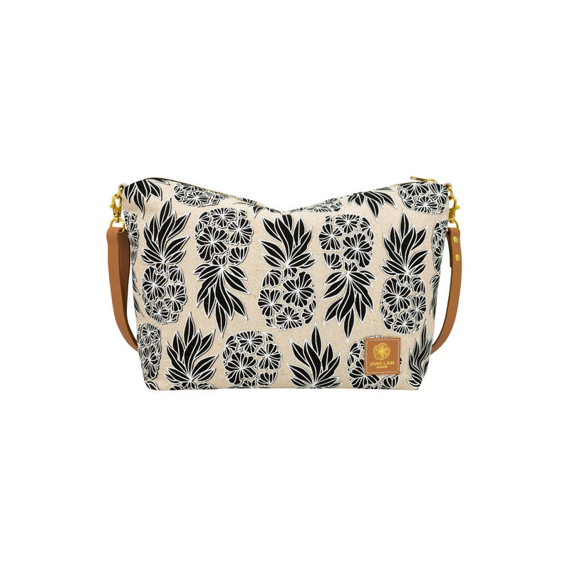 Slouchy Cross Body • Seaflower Pineapple • White over Black on Natural Fabric