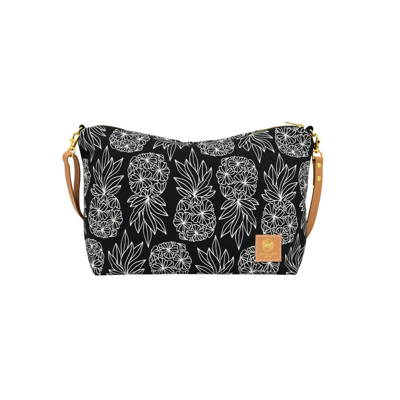 Slouchy Cross Body • Seaflower Pineapple • White on Black Fabric