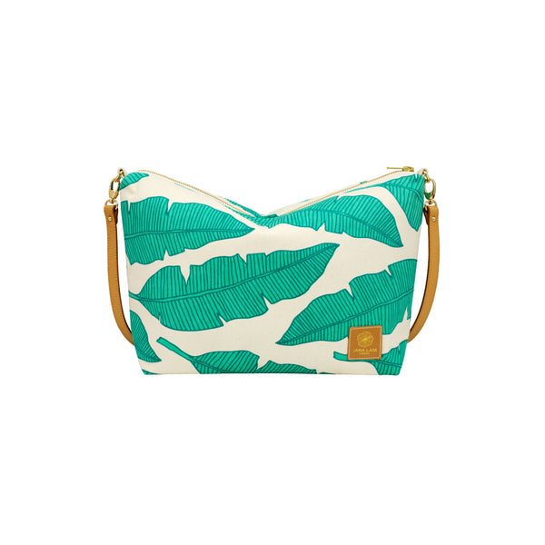 Slouchy Cross Body • Banana Leaf • Navy over Turquoise