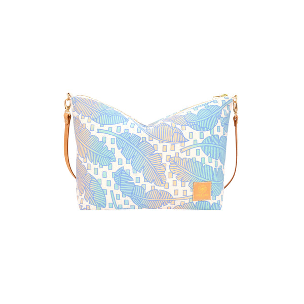 Slouchy Cross Body • Jungle City • Blue over Aqua Blue and Tan Ombre