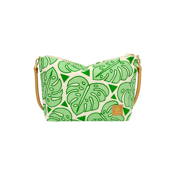 Slouchy Cross Body • Monstera • Green over Mint