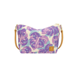 Slouchy Cross Body • Monstera and Papaya Leaf Shadow • Purple over Blue