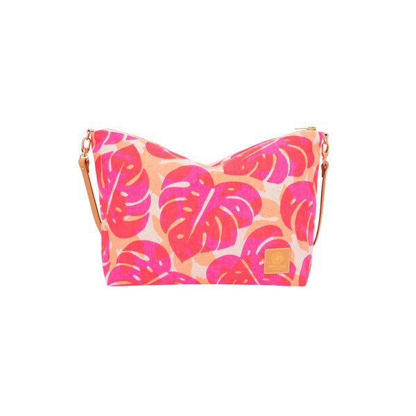 Slouchy Cross Body • Monstera and Papaya Leaf Shadow • Hot Pink over Tangerine