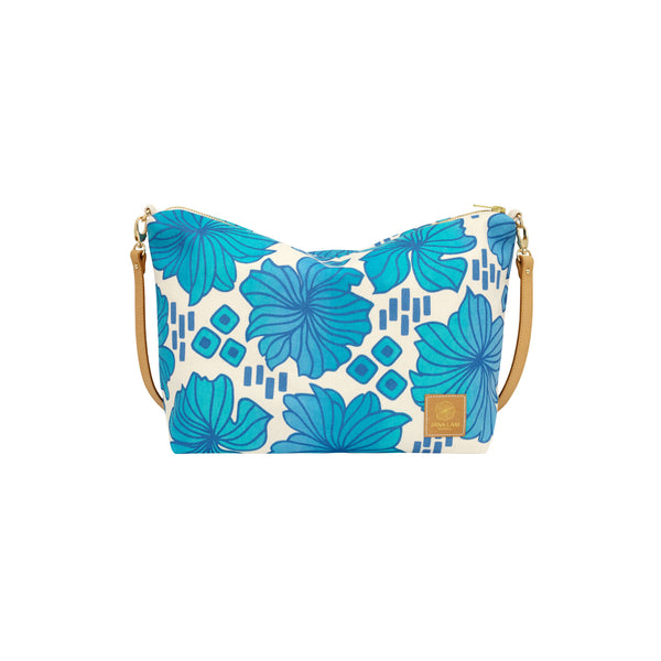 Slouchy Cross Body • Retro Blooms • Navy over Blue Ombre