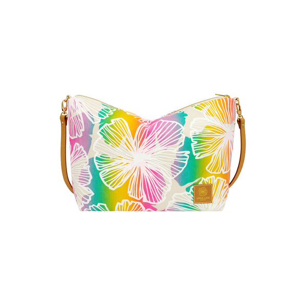 Slouchy Cross Body • Seaflower • White over Offset Rainbow Ombre
