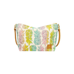 Slouchy Cross Body • Seaflower Pineapple • Silver over Pastel Rainbow Ombre