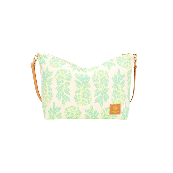 Slouchy Cross Body • Seaflower Pineapple • Lemon Yellow over Aqua