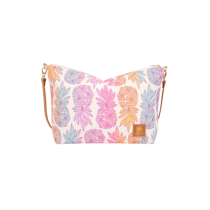 Slouchy Cross Body • Seaflower Pineapple • Metallic Purple over Pink Lavender Tangerine and Ocean Ombre