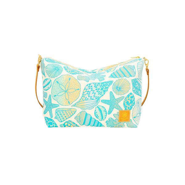 Slouchy Cross Body • Seashells • Teal over Ocean and Sand Ombre