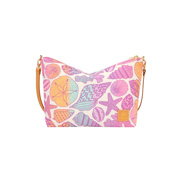 Slouchy Cross Body • Seashells • Metallic Mauve over Pink Lavender Aqua and Tangerine Ombre