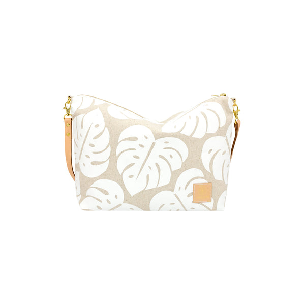Slouchy Cross Body • Monstera Shadow • White Collection