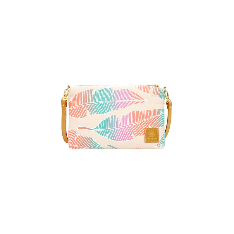 Slim Zipper Cross Body • Banana Leaf • White over Teal, Lavender, and Orange Ombre