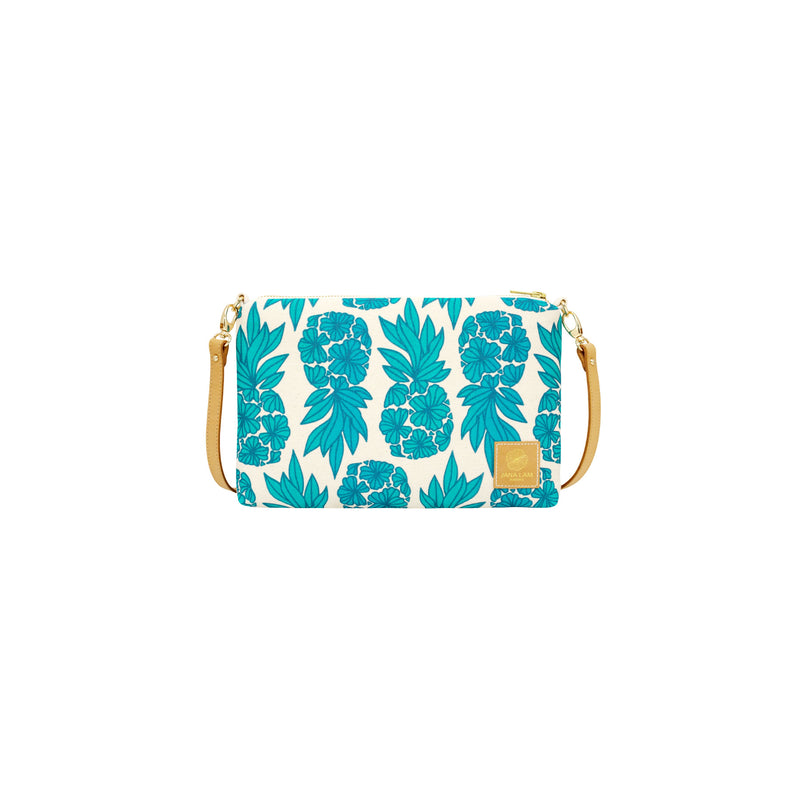 Slim Zipper Cross Body • Seaflower Pineapple • Blue over Teal and Turquoise Ombre