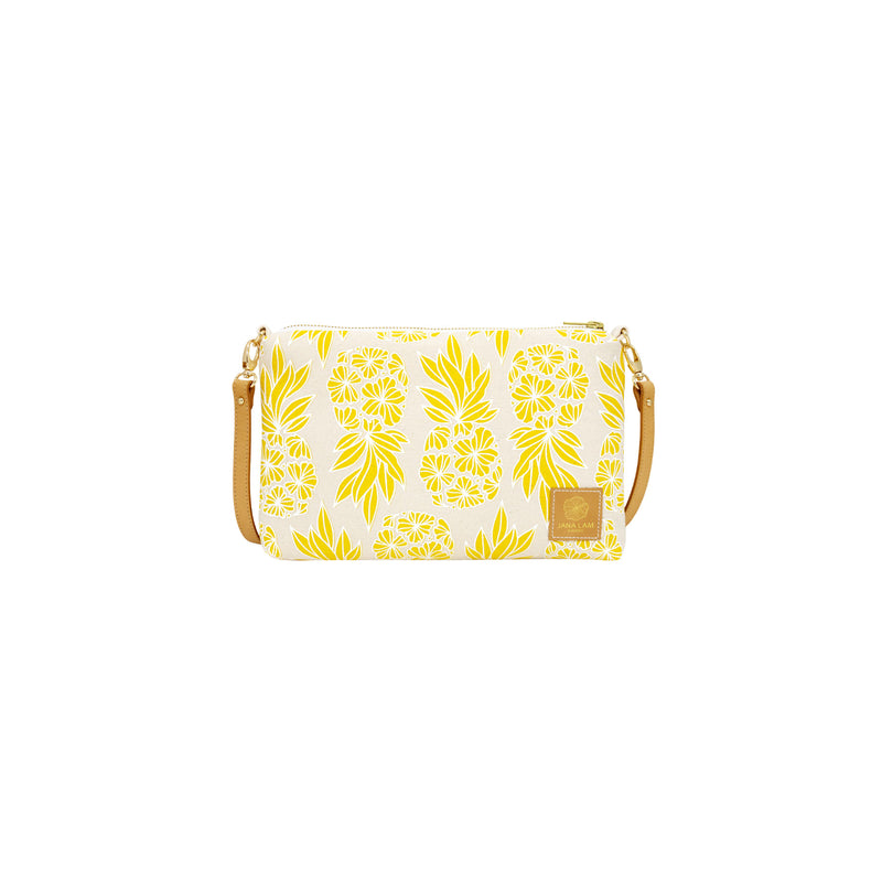 Slim Zipper Cross Body • Seaflower Pineapple • White over Yellow