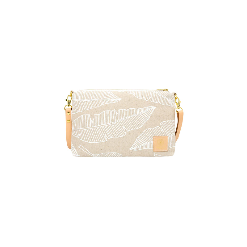 Slim Zipper Cross Body • Banana Leaf • White Collection