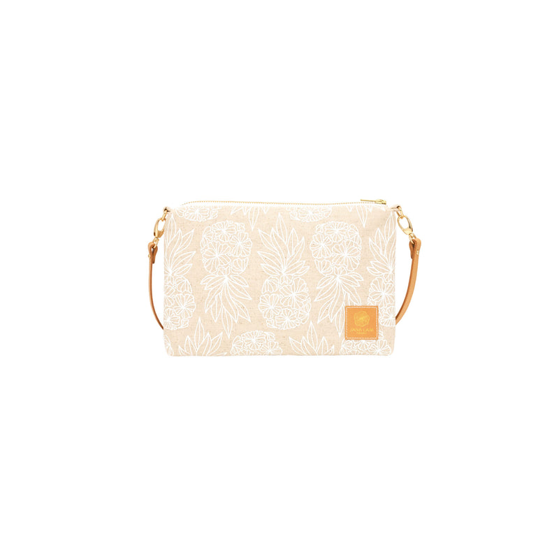 Slim Zipper Cross Body • Seaflower Pineapple • White Collection